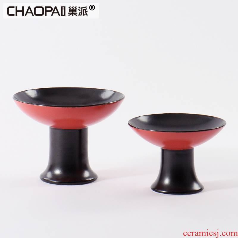 New Chinese style restaurant wine shop light key-2 luxury hotel double color ceramic snack fruit bowl place to live in the living room and practical decoration