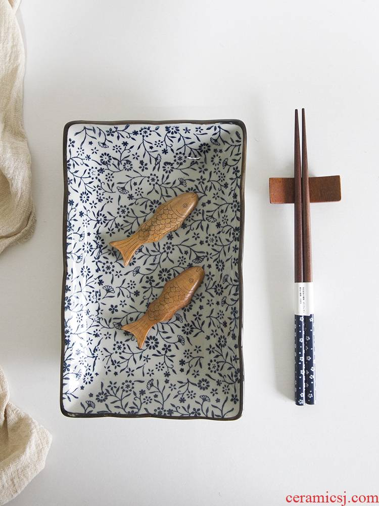 And the four seasons under made pottery glaze porcelain tableware hand - made 10 inch rectangular plate fish sushi plate plate of flat plate