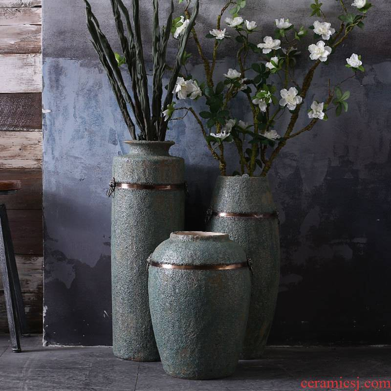 Restore ancient ways the ground vases, antique bronze, ceramic flower implement do old blue glaze Chinese wind furnishing articles drama props vase