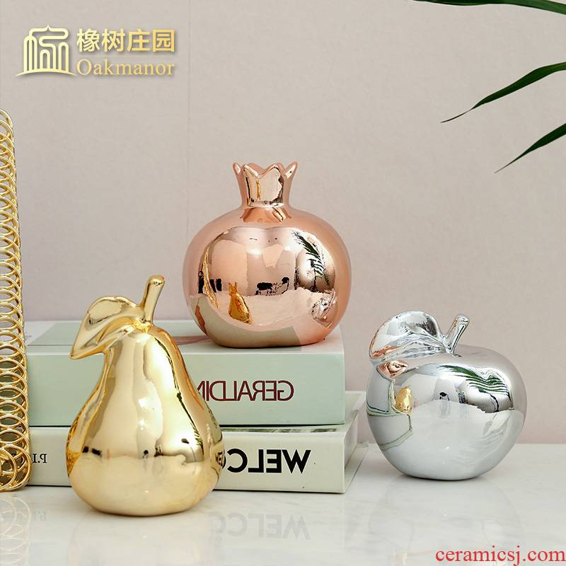 The Nordic idea ceramic apple furnishing articles home sitting room decorate children room golden fruit decoration soft outfit arts and crafts