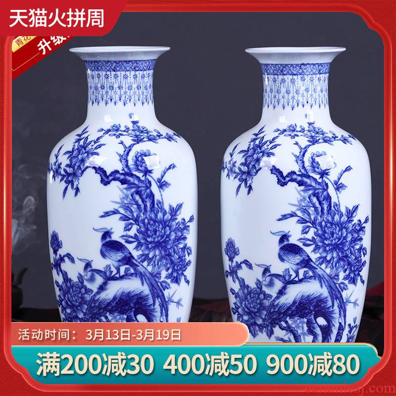 Jingdezhen ceramics furnishing articles of Chinese style of blue and white porcelain vase flower vogue to live in the living room TV cabinet decoration