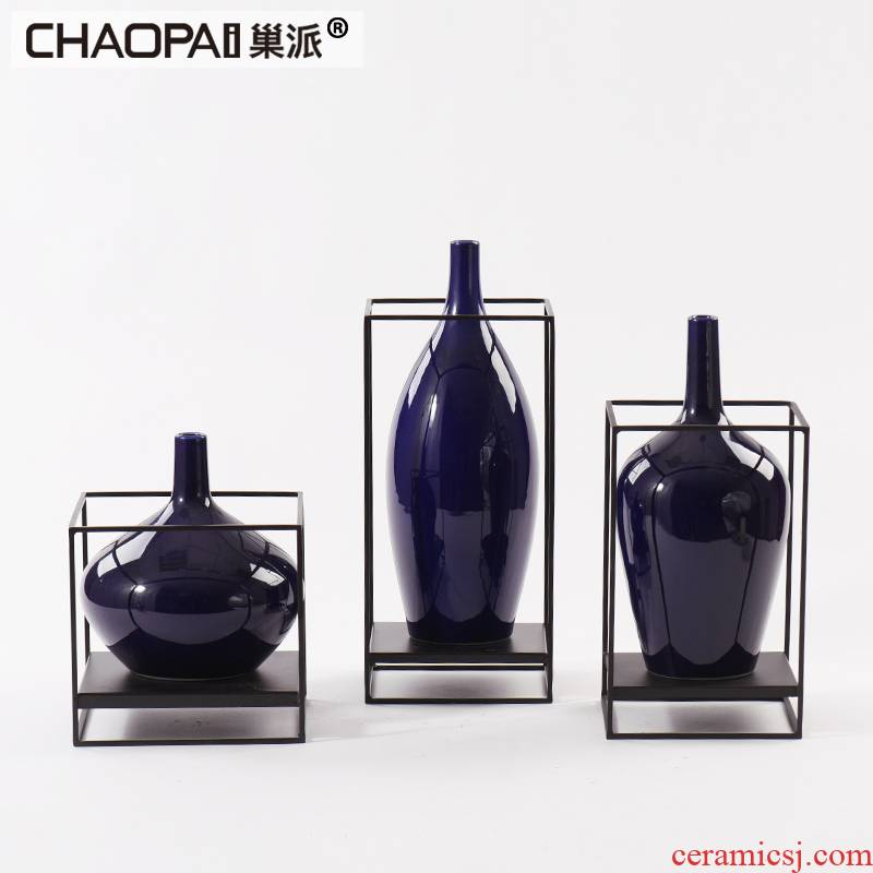 New classic blue fine ceramic bottle expressions using furnishing articles example room living room TV wine with soft outfit flowers, arts and crafts
