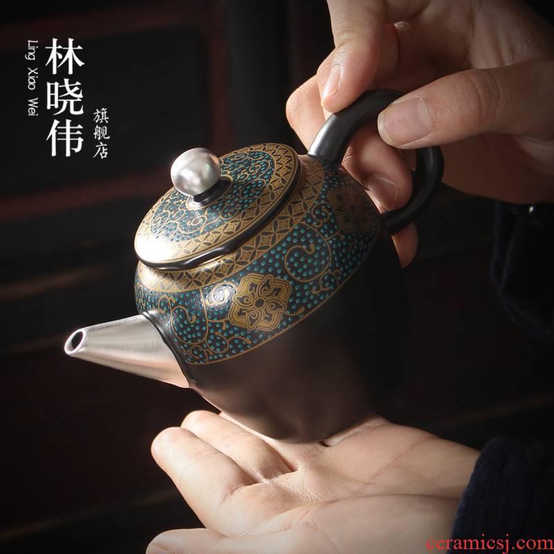 Lin Xiaowei kung fu tea set new product tasted silver gilding the teapot household ceramics single pot western creative little teapot tea