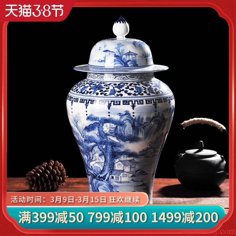Jingdezhen ceramics antique hand - made landscape general pot of blue and white porcelain vase household adornment handicraft furnishing articles