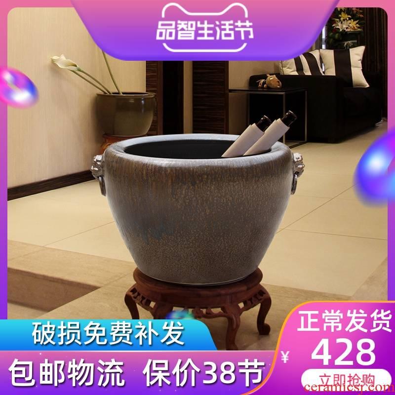 Jingdezhen ceramic aquarium calligraphy and painting cylinder sitting room be born king hotel company brocade carp goldfish turtle cylinder