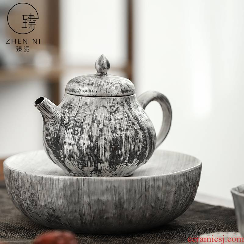 By mud coppering. As silver teapot pure manual brush which Japanese filter tea gifts household ceramics kung fu tea set single pot