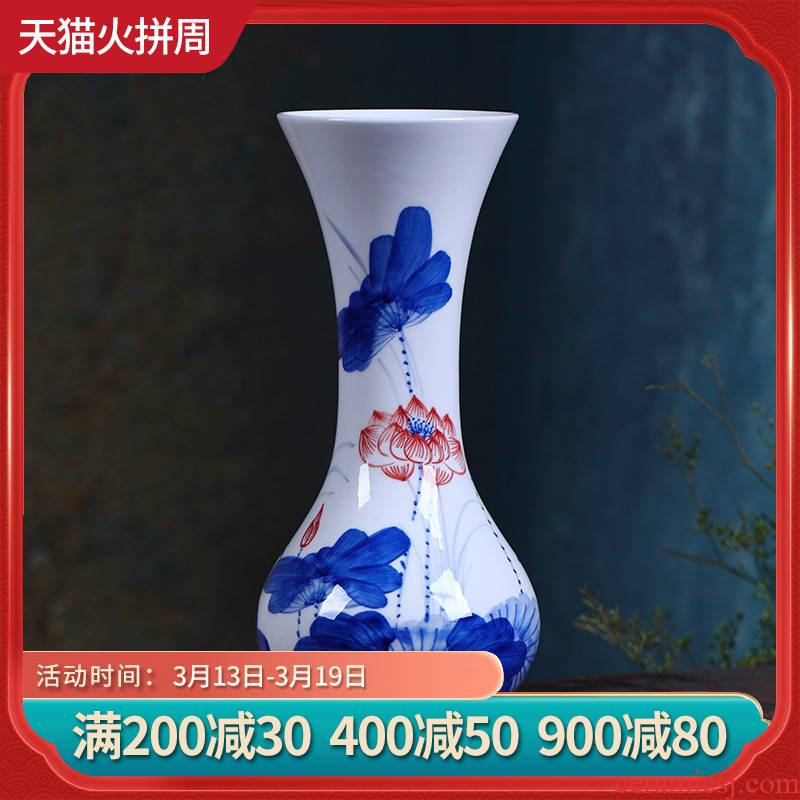 Package mail jingdezhen ceramic floret bottle of flower implement hand - made of blue and white porcelain lotus flower home sitting room adornment is placed