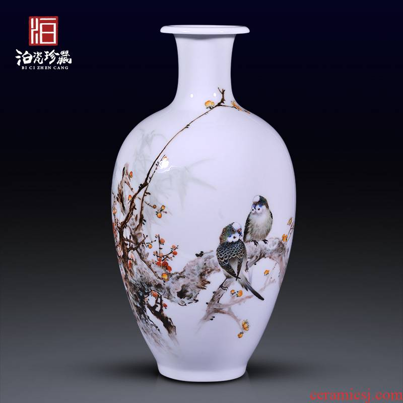 Jingdezhen ceramic painting birds and flowers in the vase household decorates sitting room rich ancient frame study collect furniture furnishing articles