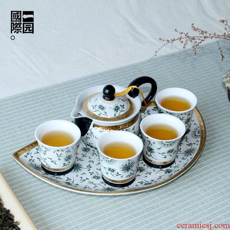 A garden international ceramic tea set suit household sector tea tray teapot teacup combinations of A complete set of kung fu tea set