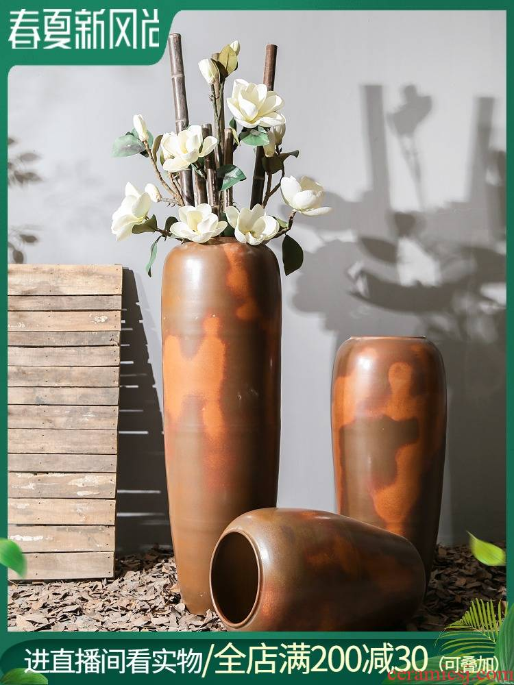 Creative ceramic vases, dry flower arranging flowers decorations restoring ancient ways furnishing articles hotel club villa living room floor coarse pottery