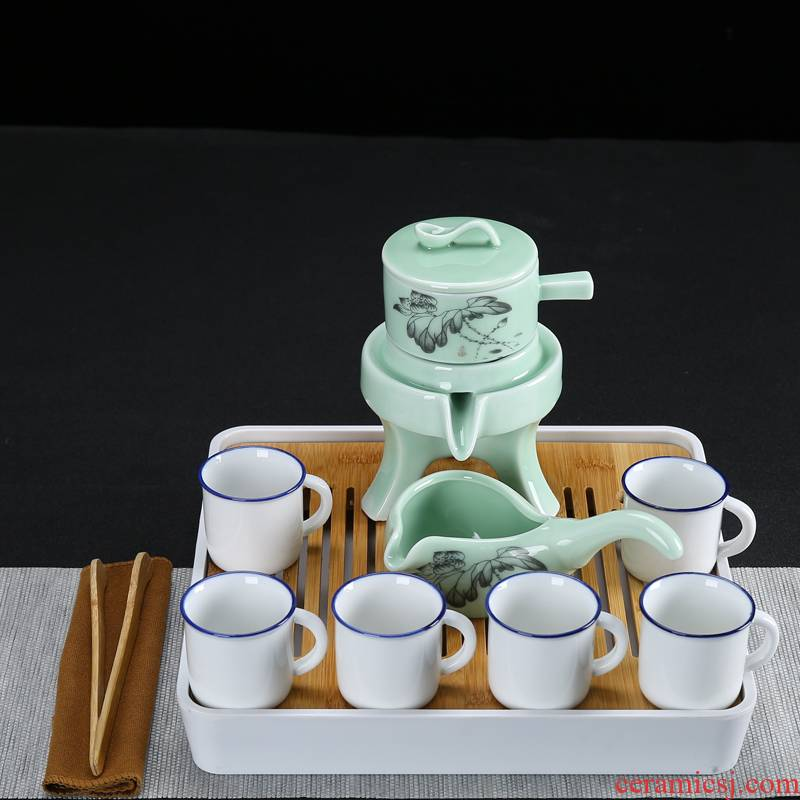 Kung fu tea set suit small sets of purple sand tea set automatically small tea table ceramic household contracted with plate of a complete set of tea sets
