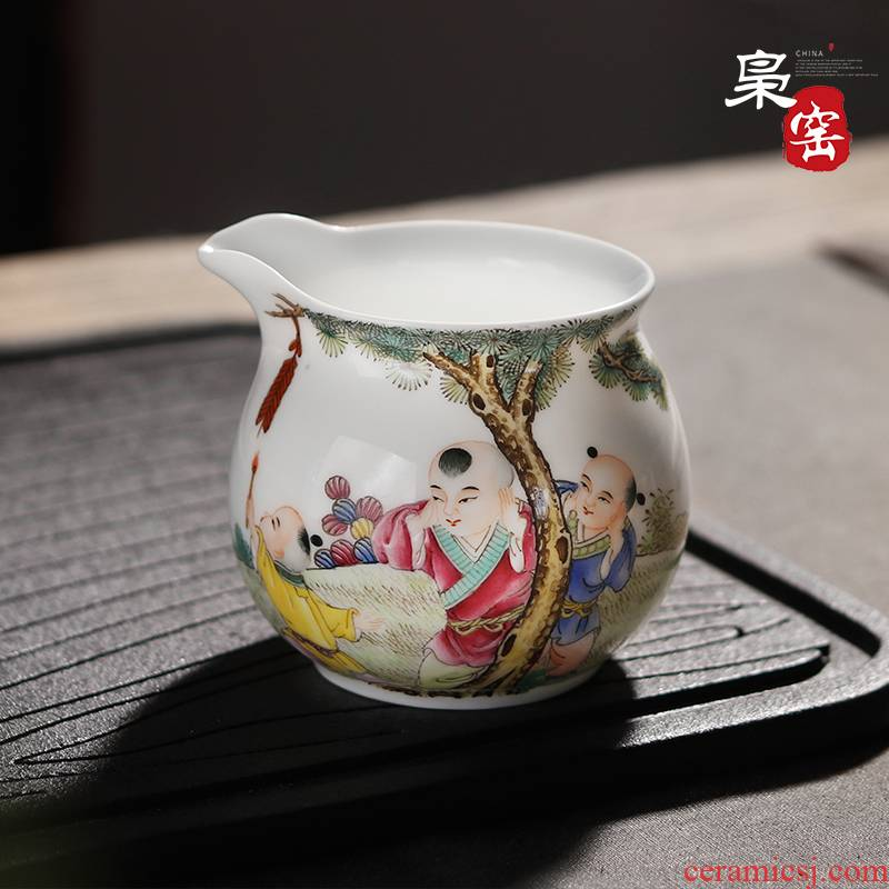 Jingdezhen famille rose tea set reasonable hand - made ceramic cup points make tea tea ware hand - made tong qu hand grasp