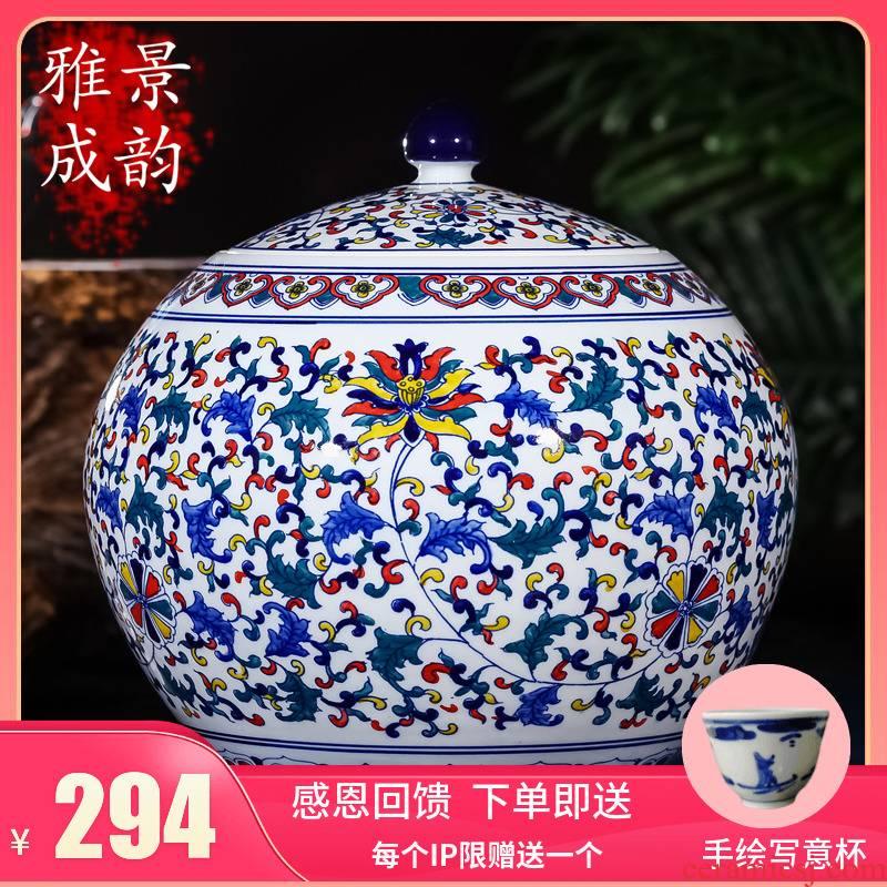 Jingdezhen ceramics large seal pot tea caddy fixings retro store receives the big yards puer tea pot