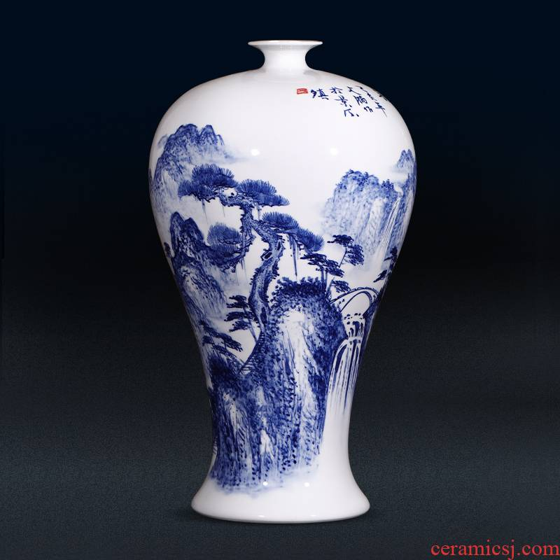 Jingdezhen ceramics by hand draw landscape painting vases, antique Chinese style household, sitting room porch decoration furnishing articles