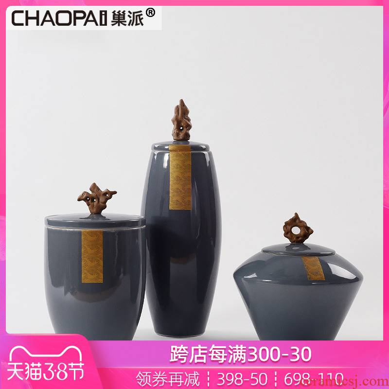 New Chinese style style ceramic storage jar furnishing articles postmodern sample room sitting room furniture stores soft outfit decoration