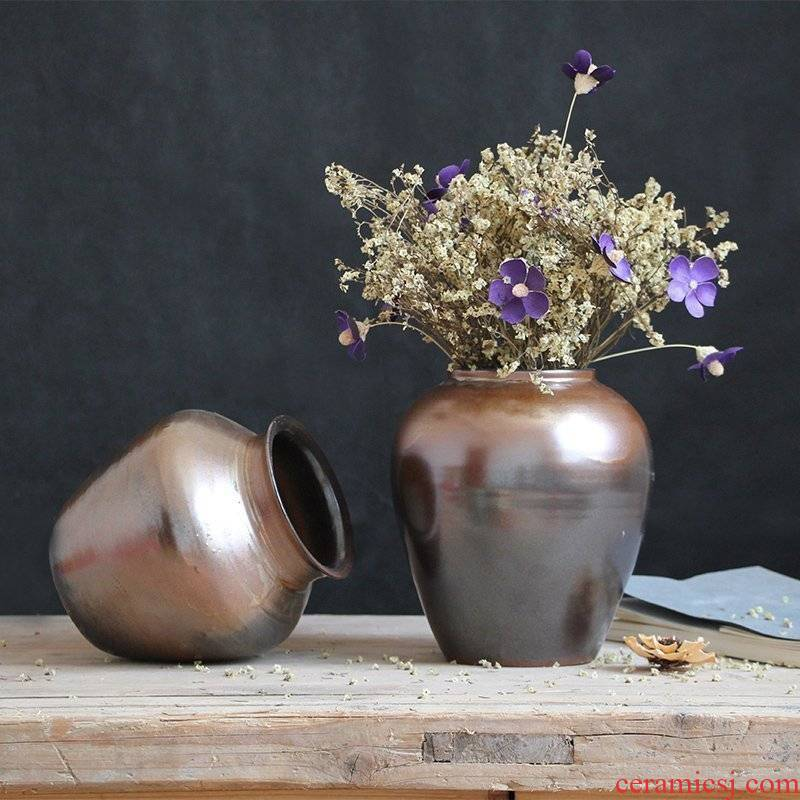The Metal glaze coarse pottery dried flower vase restoring ancient ways of jingdezhen ceramic sitting room place in modern Chinese Japanese flower arrangement
