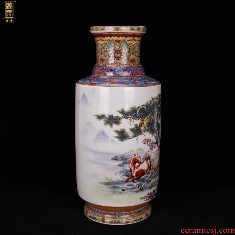 Jingdezhen imitation qianlong pastel success show Chinese antique vase vase antique living room a study place