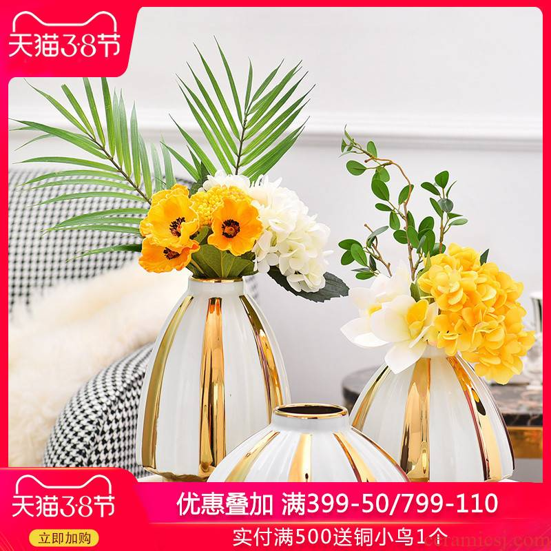 Light ceramic vase key-2 luxury living room TV cabinet wine porch desktop flower arranging household furnish furnishing articles