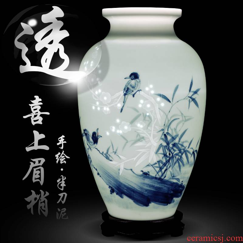 Jingdezhen ceramics hand - made thin body new sitting room of Chinese style household knife clay flower arranging, arts and crafts decorative furnishing articles