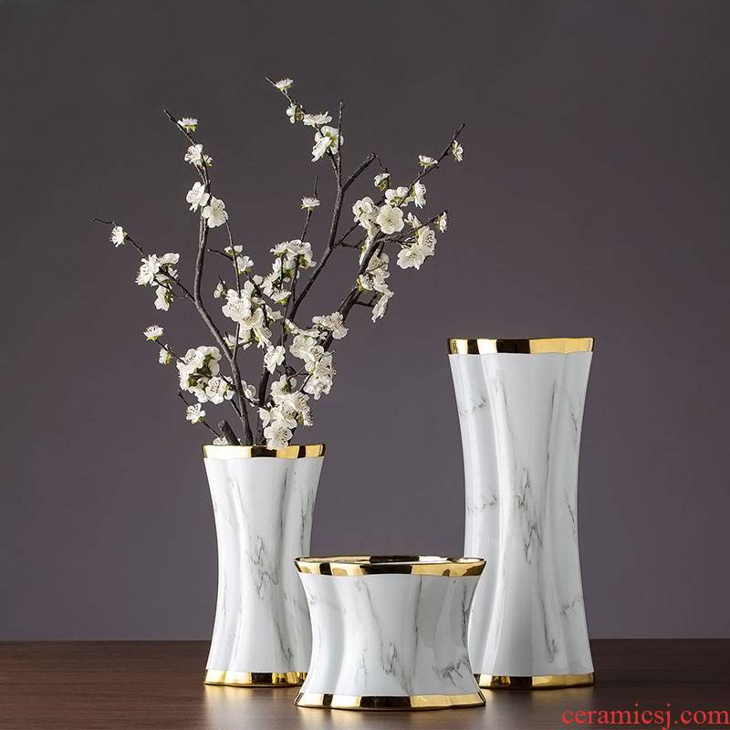 Jingdezhen ceramic vase furnishing articles home flower arrangement sitting room adornment contracted and I creative table dry flower receptacle