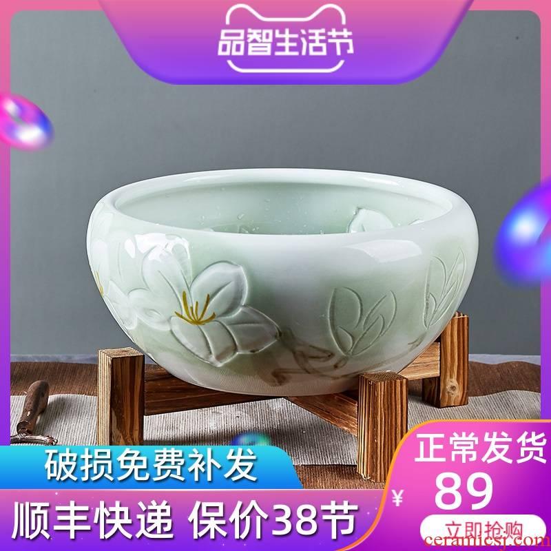 Jingdezhen ceramic aquarium desktop small goldfish bowl water lily basin home sitting room dedicated creative tortoise cylinder
