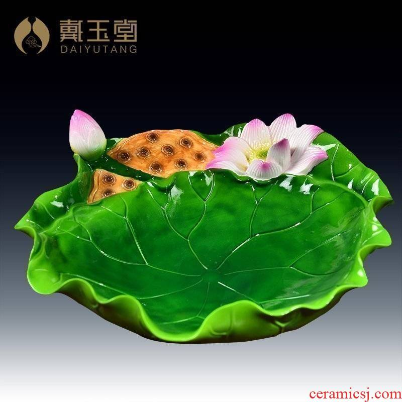 Yutang dai for ceramic plate household consecrate fruit bowl Buddha Buddha with supplies Buddha before furnishing articles 9 inch lotus fruit tray