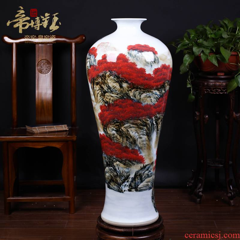 The Master of jingdezhen ceramics hand - made scenery youligong large name plum bottle sitting room place, Chinese style of large vase