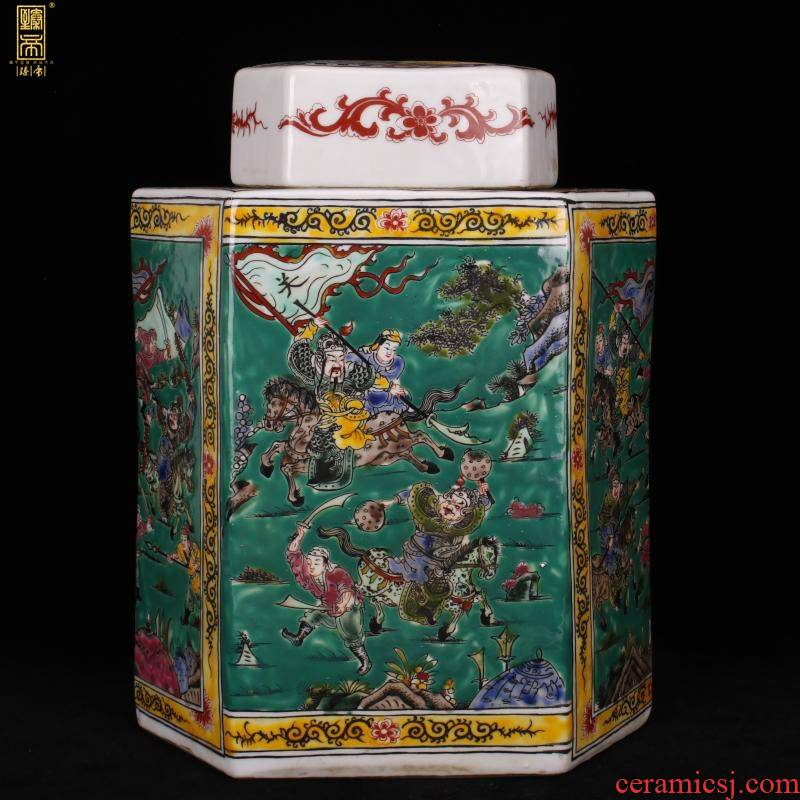 Jingdezhen imitation kangxi green space three British lyu3 bu4 six - party cover pot antique reproduction antique old ceramic collection furnishing articles