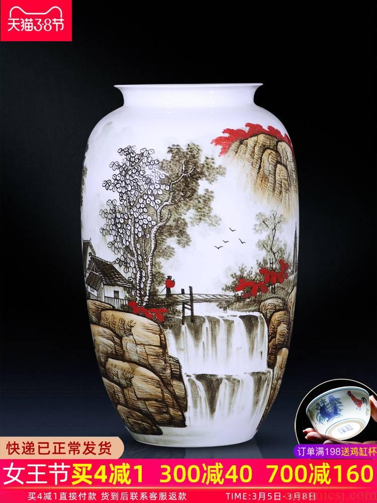 Jingdezhen ceramics of large vase furnishing articles large sitting room of Chinese style household adornment hand - made porcelain arranging flowers