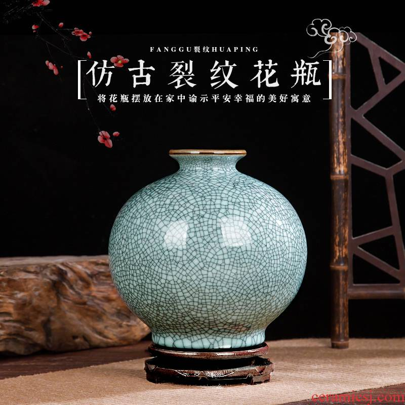 Jingdezhen ceramics crackle vase Chinese penjing flower arrangement, porcelain wine handicraft decorative household items
