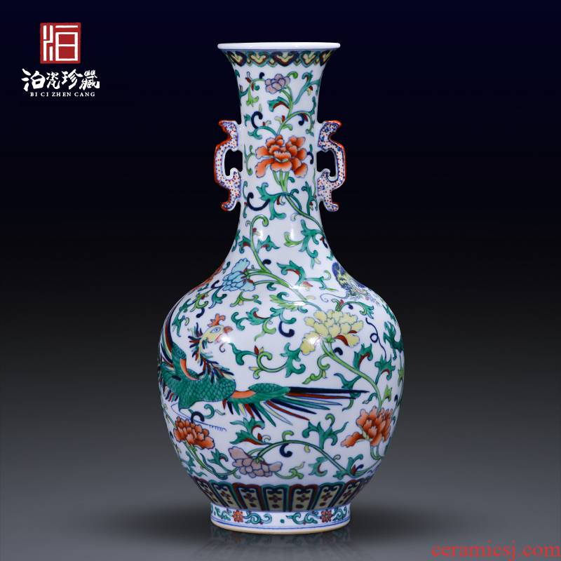 Jingdezhen ceramics archaize color bucket longfeng grain ears vase house sitting room decorate the study collect furnishing articles