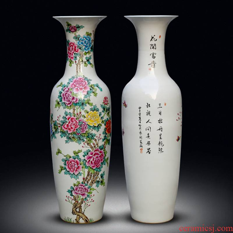 Jingdezhen ceramics hand - made pastel of large vase peony is Chinese style living room office furnishing articles ornament
