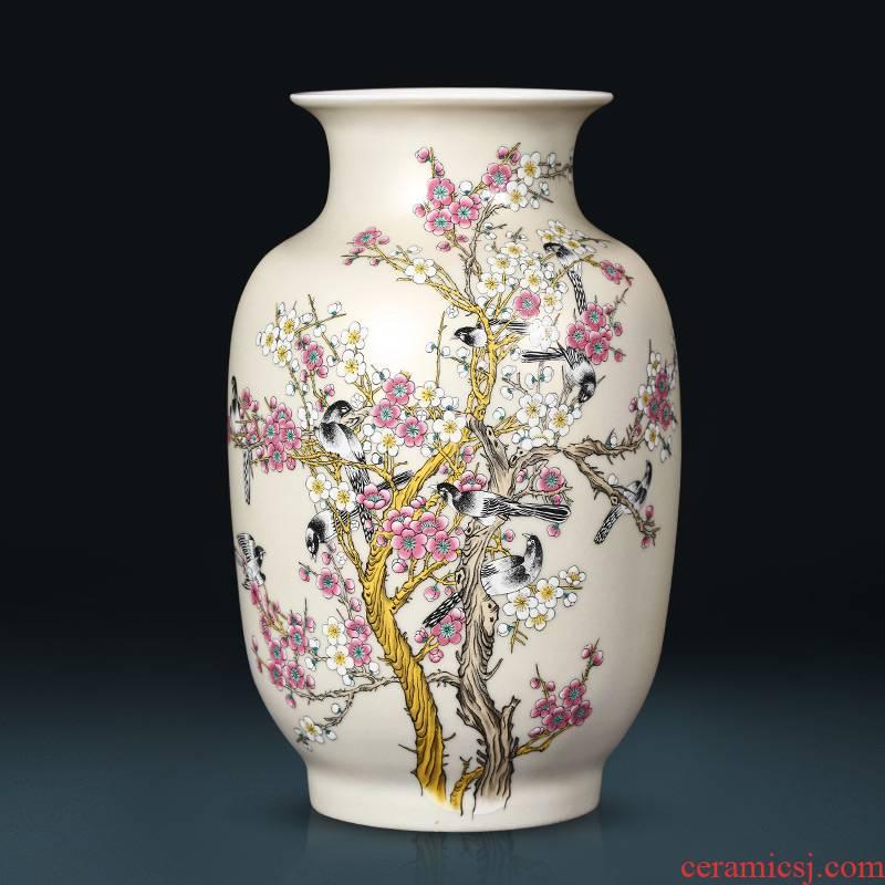 Jingdezhen famille rose porcelain vases, flower arrangement home sitting room of Chinese style porch ark, TV ark, adornment furnishing articles