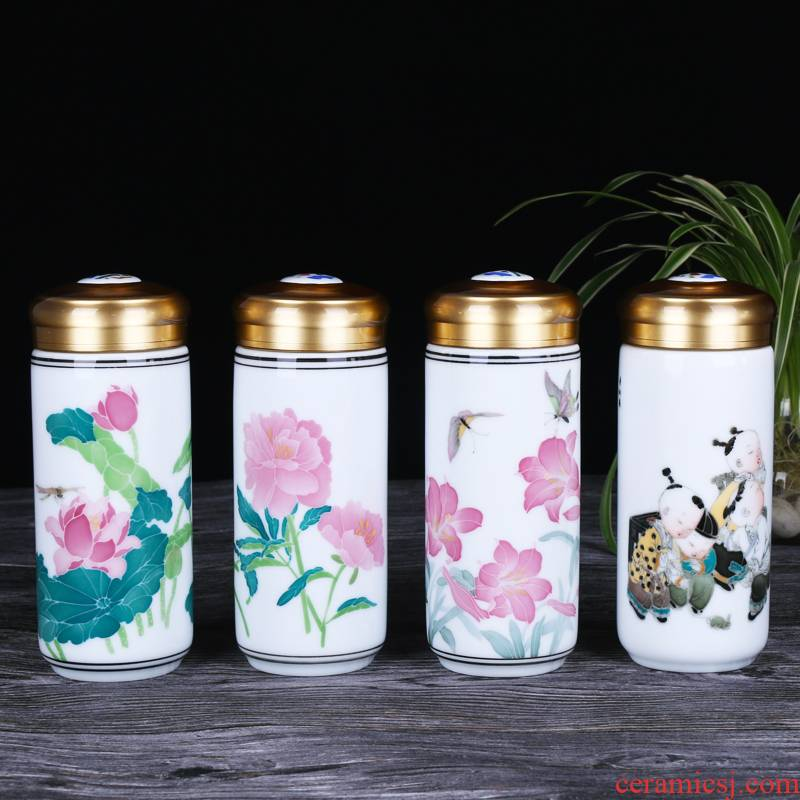 Liling porcelain under the Liling glaze color hand - made medium ceramic cup double bladder individual household business gifts custom