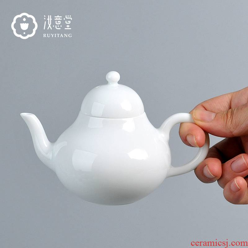Ceramic teapot trumpet kunfu tea teapot jingdezhen porcelain tea set single pot hand antique jun DE pot of light