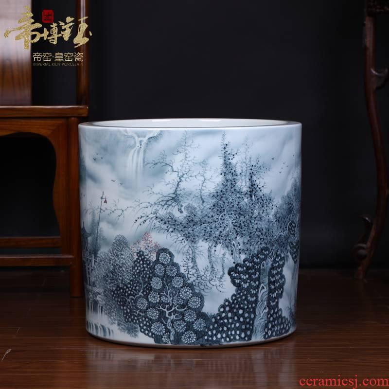 Jingdezhen ceramic king of the ring money master hand - made color ink landscape of large vases, handicraft decoration quiver