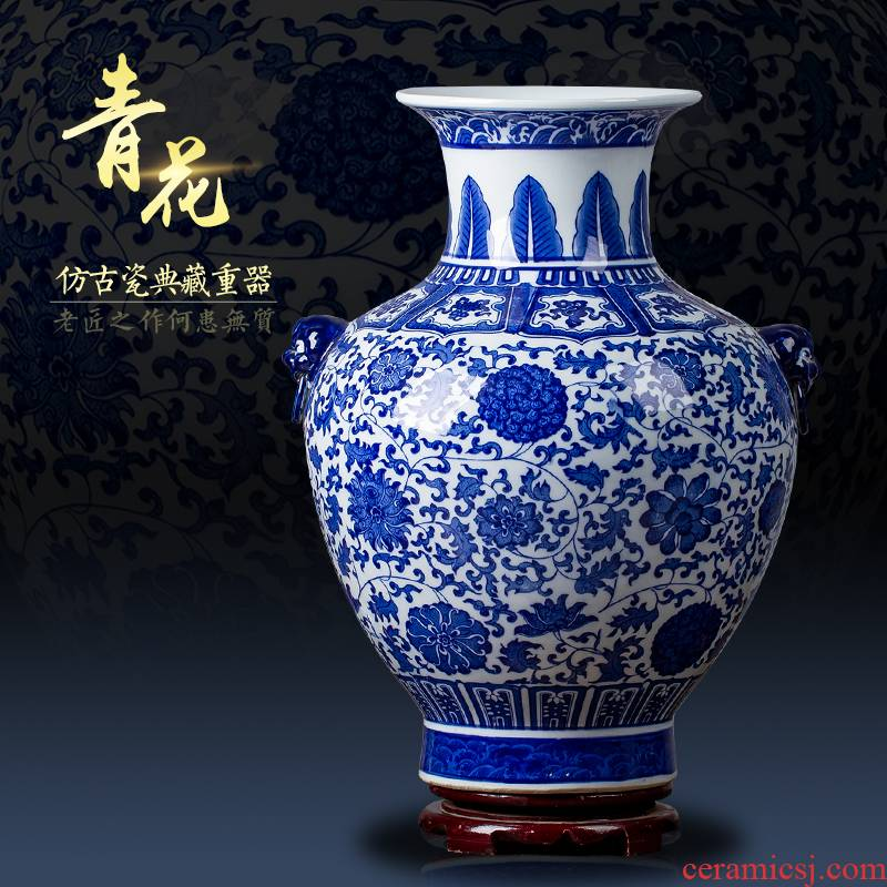 Jingdezhen ceramic blue and white flower arranging antique Chinese blue and white porcelain vase household the sitting room porch place decoration