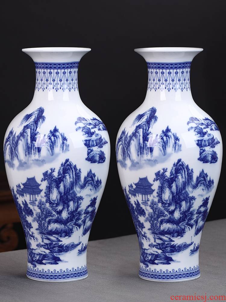 Blue and white porcelain vases, flower arrangement of jingdezhen ceramics furnishing articles furnishing articles of new Chinese style household act the role ofing is tasted rich ancient frame sitting room