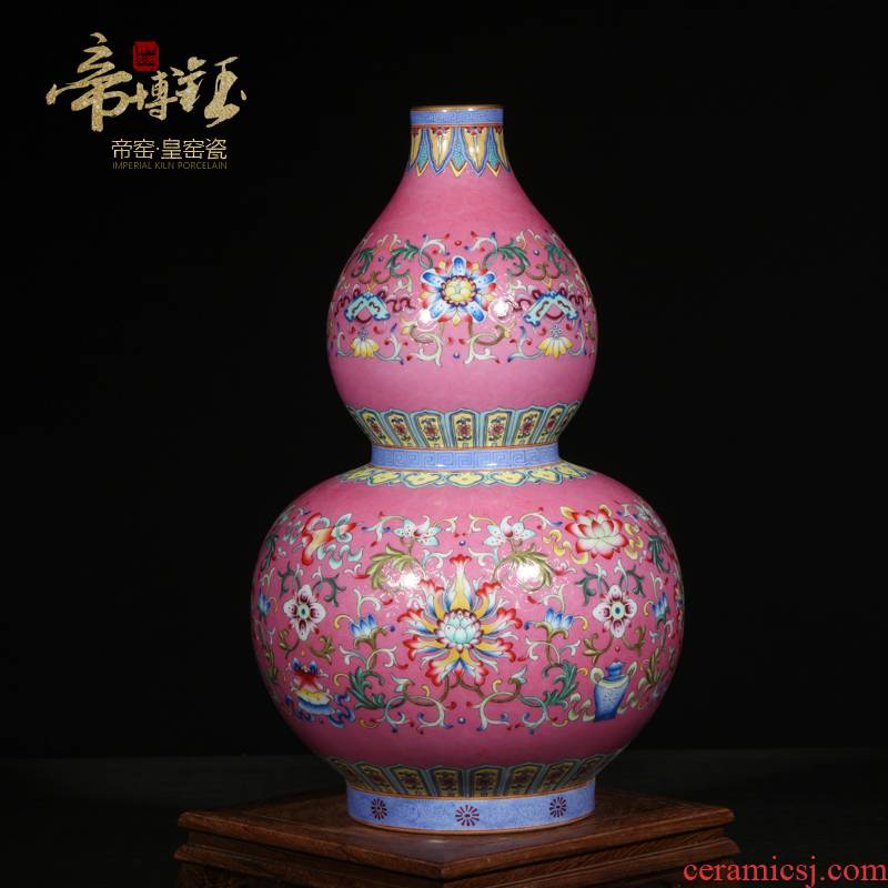Jingdezhen ceramic vase furnishing articles archaize the qing qianlong colored enamel paint gourd bottle of Chinese arts and crafts sitting room
