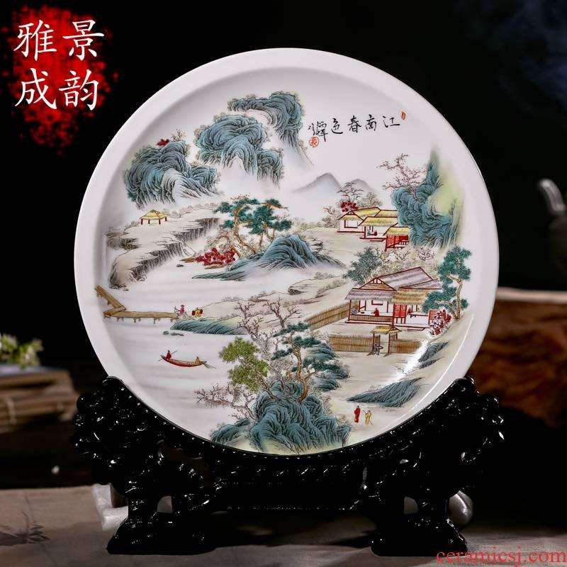 The new jingdezhen ceramics hand - made porcelain decoration painting landscapes hang dish Zhang Bingxiang furnishing articles at home