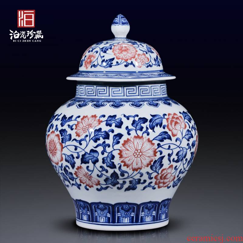 Blue and white porcelain of jingdezhen ceramics general tank sitting room home decoration ware caddy fixings Chinese penjing collection