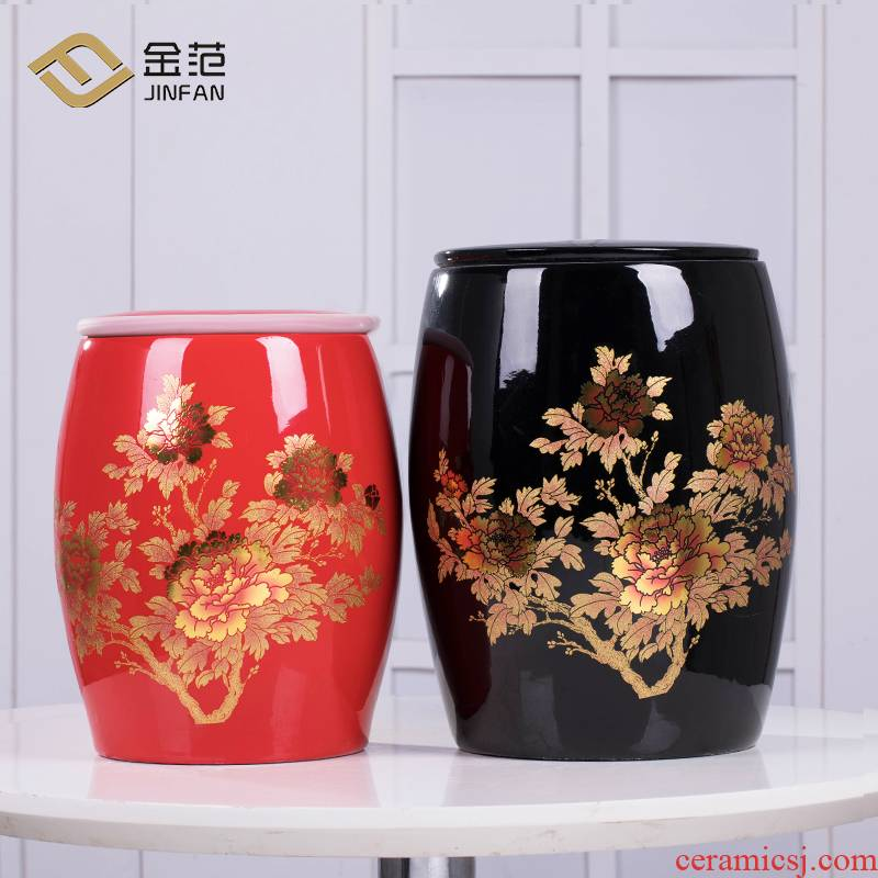 Jingdezhen ceramic barrel household with cover pack ricer box store meter box 10 jins 20 jins seal storage tank is moistureproof insect - resistant