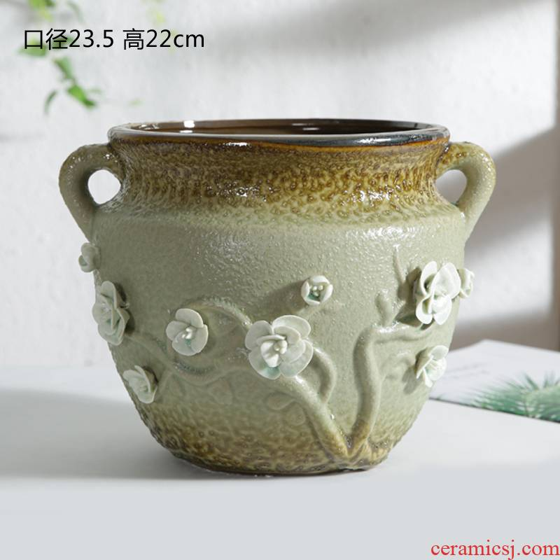 A new large caliber fleshy old running the flowerpot, green potted ceramic flower implement rich tree flower pot meaty plant platter