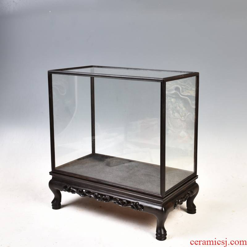 Purple wingceltis ebony wood cage treasure the glass dust cover feature of solid wood antique mahogany base cover