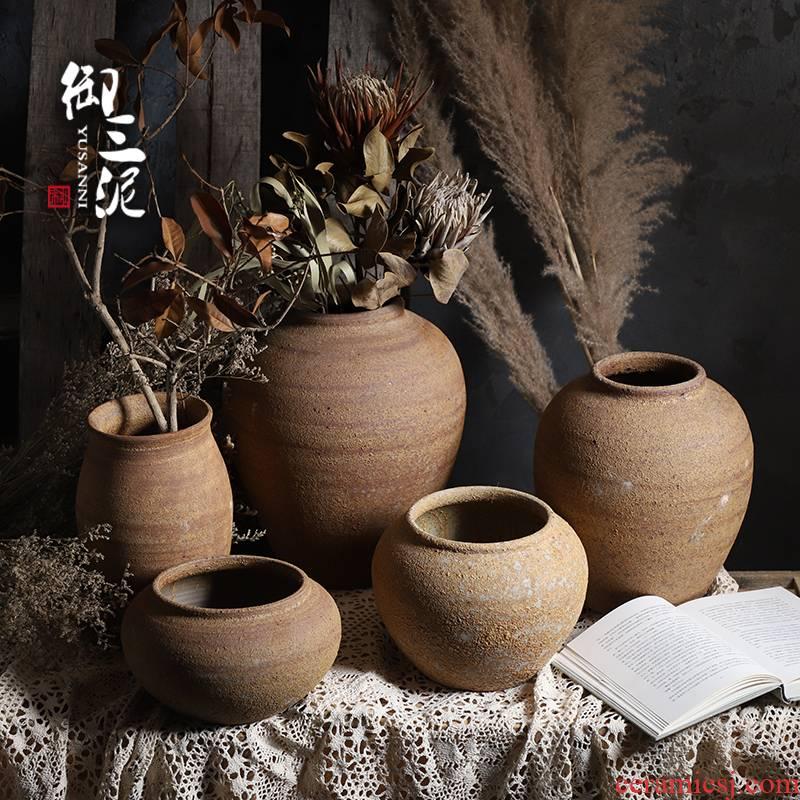 Jingdezhen checking ceramic coarse TaoHua machine dry flower vases, ceramic flower pot pottery flower arranging furnishing articles zen tea orphan works