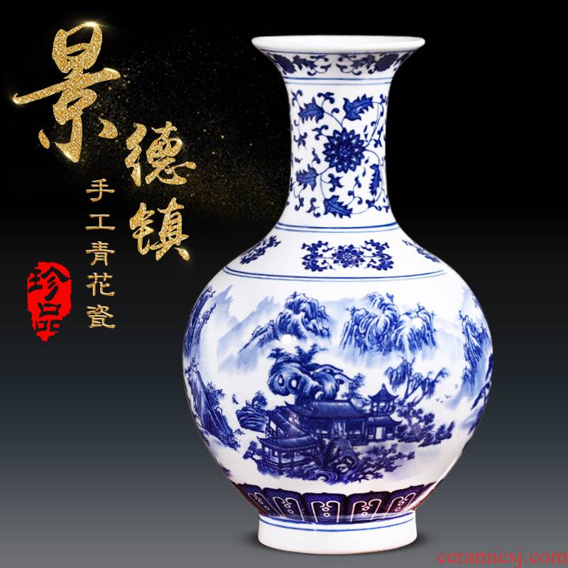 Jingdezhen blue and white porcelain vase sitting room place flower arrangement craft ceramics wine accessories and vase
