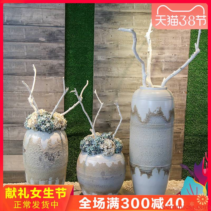 Jingdezhen retro nostalgia of large vase fell into the sitting room between example simulation artificial flowers adornment hotel furnishing articles