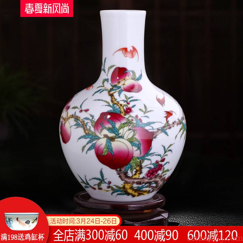 Jingdezhen ceramics live figure floret bottle home furnishing articles dried flower arranging flowers, Chinese style living room TV cabinet