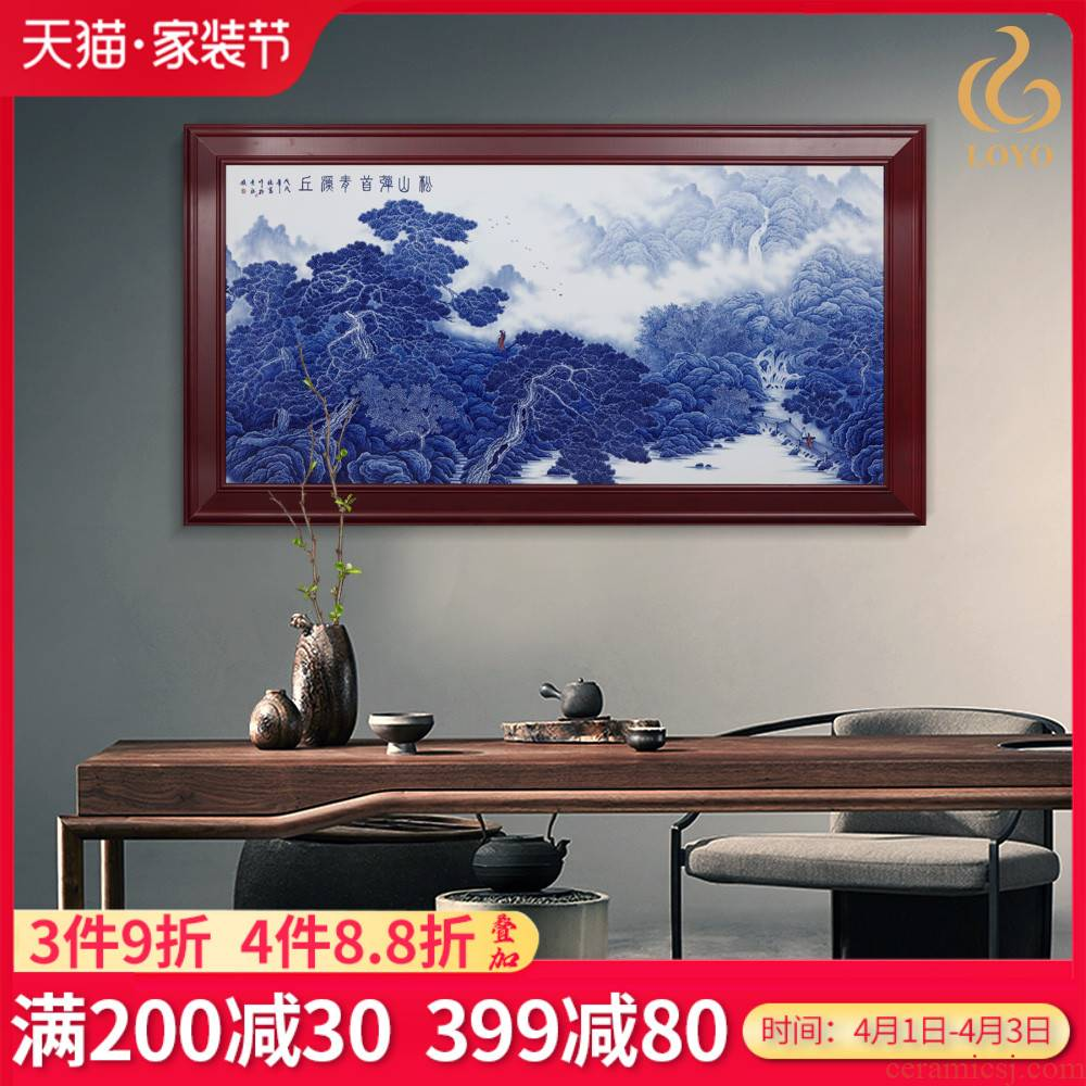Jingdezhen ceramics hand - made scenery of blue and white porcelain porcelain plate paintings of Chinese style adornment sitting room sofa setting wall hang a picture