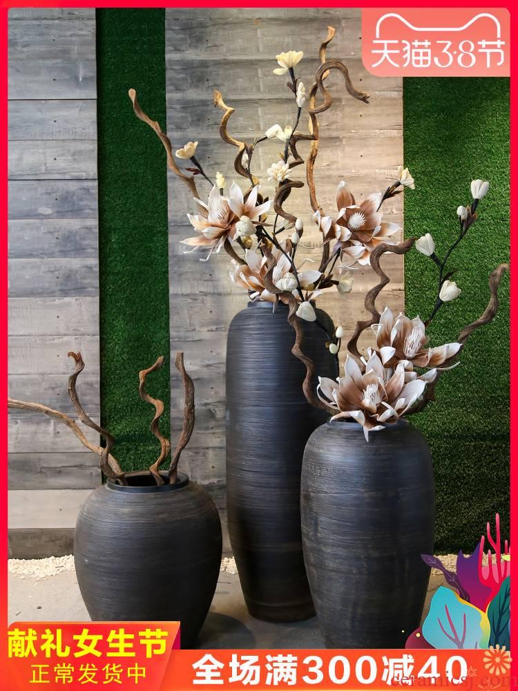 Jingdezhen coarse pottery restoring ancient ways of large sitting room pottery decoration vase simulation flower art furnishing articles villa hotel